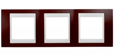 Schneider Electric Unica Хамелеон Гранат/Белый Рамка 3-ая горизонтальная купить в интернет-магазине Азбука Сантехники
