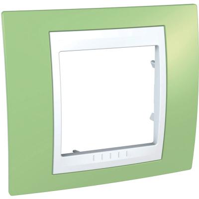 Schneider Electric Unica Хамелеон Зеленое яблоко/Белый Рамка 1-ая купить в интернет-магазине Азбука Сантехники