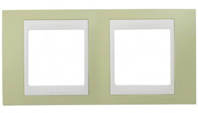 Schneider Electric Unica Хамелеон Зеленое яблоко/Белый Рамка 2-ая горизонтальная купить в интернет-магазине Азбука Сантехники