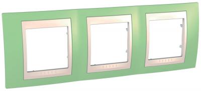 Schneider Electric Unica Хамелеон Зеленое яблоко/Бежевый Рамка 3-ая горизонтальная купить в интернет-магазине Азбука Сантехники
