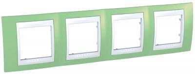 Schneider Electric Unica Хамелеон Зеленое яблоко/Белый Рамка 4-ая горизонтальная купить в интернет-магазине Азбука Сантехники