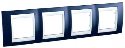 Schneider Electric Unica Хамелеон Индиго/Белый Рамка 4-ая горизонтальная купить в интернет-магазине Азбука Сантехники
