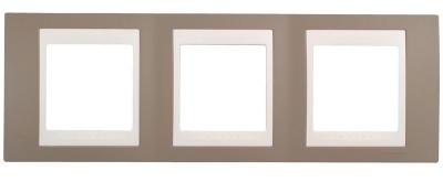 Schneider Electric Unica Хамелеон Коричневый/Белый Рамка 3-ая горизонтальная купить в интернет-магазине Азбука Сантехники