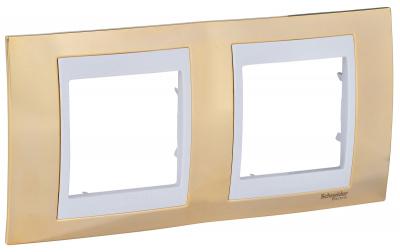 Schneider Electric Unica Хамелеон Золото/Белый Рамка 2-ая горизонтальная купить в интернет-магазине Азбука Сантехники