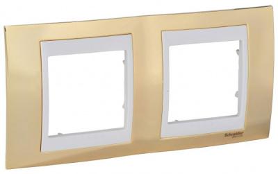 Schneider Electric Unica Хамелеон Золото/Бежевый Рамка 2-ая горизонтальная купить в интернет-магазине Азбука Сантехники