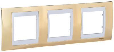 Schneider Electric Unica Хамелеон Золото/Белый Рамка 3-ая горизонтальная купить в интернет-магазине Азбука Сантехники