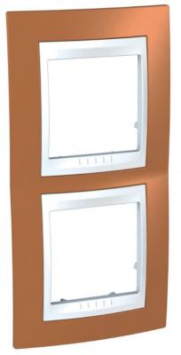 Schneider Electric Unica Хамелеон Оранжевый/Белый Рамка 2-ая вертикальная купить в интернет-магазине Азбука Сантехники