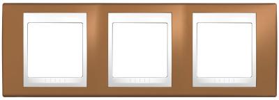 Schneider Electric Unica Хамелеон Оранжевый/Белый Рамка 3-ая горизонтальная купить в интернет-магазине Азбука Сантехники