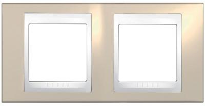 Schneider Electric Unica Хамелеон Песчаный/Белый Рамка 2-ая горизонтальная купить в интернет-магазине Азбука Сантехники