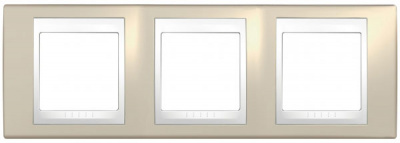 Schneider Electric Unica Хамелеон Песчаный/Белый Рамка 3-ая горизонтальная купить в интернет-магазине Азбука Сантехники