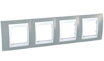 Schneider Electric Unica Хамелеон Серый/Белый Рамка 4-ая горизонтальная купить в интернет-магазине Азбука Сантехники