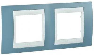 Schneider Electric Unica Хамелеон Синий/Белый Рамка 2-ая горизонтальная купить в интернет-магазине Азбука Сантехники