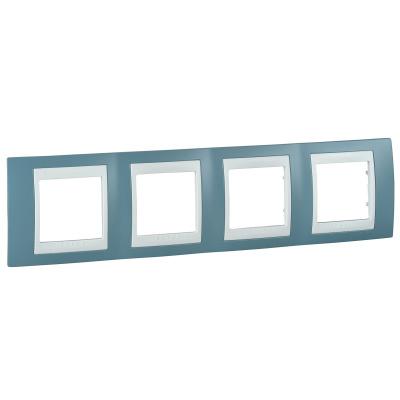 Schneider Electric Unica Хамелеон Синий/Белый Рамка 4-ая горизонтальная купить в интернет-магазине Азбука Сантехники