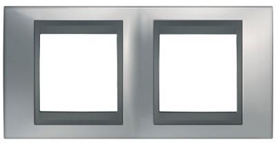 Schneider Electric Unica Top Хром матовый/Графит Рамка 2-ая купить в интернет-магазине Азбука Сантехники