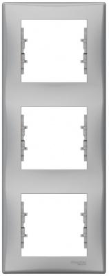 Schneider Electric Sedna Алюминий Рамка 3-постовая вертикальная купить в интернет-магазине Азбука Сантехники