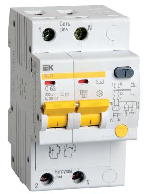 IEK АД12 Дифавтомат 2P 50A (C) 4,5kA тип AС 100mA купить в интернет-магазине Азбука Сантехники