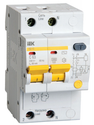 IEK АД12 Дифавтомат 2P 25A (C) 4,5kA тип AС 100mA купить в интернет-магазине Азбука Сантехники