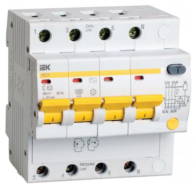 IEK АД14 Дифавтомат 4P 16A (C) 4,5kA тип AС 300mA купить в интернет-магазине Азбука Сантехники