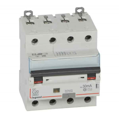 Legrand DX3 Дифавтомат 4P 20A (C) 6kA тип AС 30mA купить в интернет-магазине Азбука Сантехники