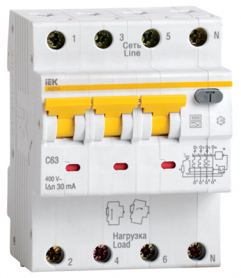 IEK АВДТ34 Дифавтомат 3P+N 10A (С) 6kA тип A 30mA купить в интернет-магазине Азбука Сантехники