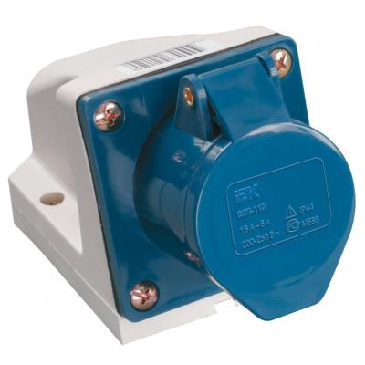 IEK ССИ-123 Розетка стационарная 2P+РЕ 32A/250V IP44 синий купить в интернет-магазине Азбука Сантехники
