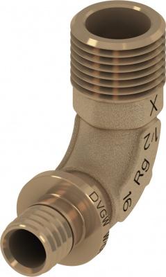 Уголок соединительный с ниппелем TECE TECEflex 16 х 1/2'', бронза купить в интернет-магазине Азбука Сантехники